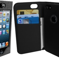 iPhone 5 Wallet Case- iWallie - Unique Forward-Facing Leather luxury designer cover case for your Apple Phone - For Men & Women - Perfect Custom Fit For Your Awesome Device - AT&T, Verizon, Sprint - Protect Your Investment- Lifetime Guarantee (Black/Black)