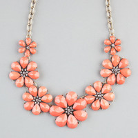 Full Tilt Facet Flower Statement Necklace Coral One Size For Women 22842531301