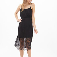 FOREVER 21 Pleated Lace Cami Dress Black