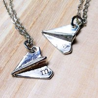 Origami paper plane necklace with customized hand stamp initial or monogram
