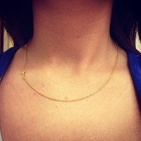 Tiny Sideways Cross Necklace, Extra Tiny, Gold chain, Gold Cross from Southern Charm