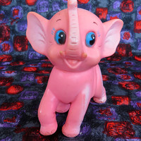 Vintage 60s pink elephant squeaker - what a cutie!  Made in Taiwan