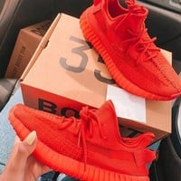 Red Adidas Yeezy Boost 350 V2 Fashion casual shoes