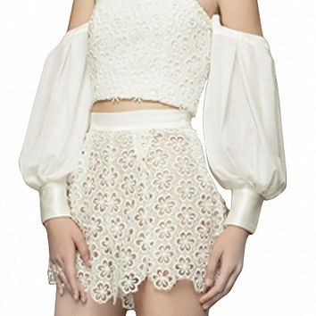 White Puff Long Sleeve Off Shoulder Top and Lace Shorts