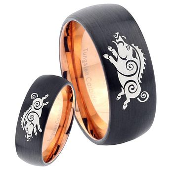His Hers Wild Boars Dome Tungsten Rose Gold Mens Wedding Band Set