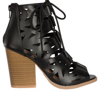 Geometric Cutout Lace-Up Shoes-FINAL SALE