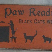 Paw Readings Sign, Halloween, Witches, Balck Cats, Wicca, Wiccan, Occ   icehousecrafts - Folk Art & Primitives on ArtFire