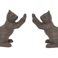 Pair of Cat Bookends, Brown, Bookends
