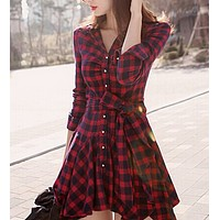 fhotwinter19 new hot classic retro plaid long-sleeved pleated waist slimming bottoming dress