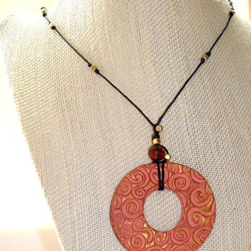 Eco Friendly Aromatherapy Handmade Clay Pendant with Swirl Design Bead Accents on Black Linen Cord Personal Essential Oil Diffuser Necklace