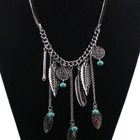 Silver Leather Design Drop Chain Statement Necklace