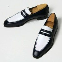 Handmade mens leather shoes, Men black and white color real leather moccasins