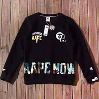 Bape Aape New fashion pattern camouflage letter print couple long sleeve top sweater Black