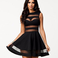 Sleeveless Mesh Striped Skater Dress
