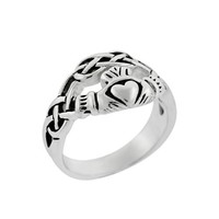 Sterling Silver Claddagh Celtic Knot Ring