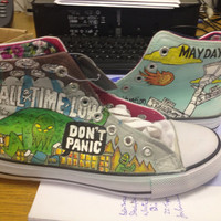 Hand Painted Hi Tops All Time Low Don't Panic design, UK size 3