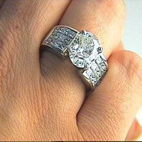 3.89ct Oval Cut Diamond Engagement Ring Princess Diamonds invisible setting 18kt white Gold JEWELFORME BLUE