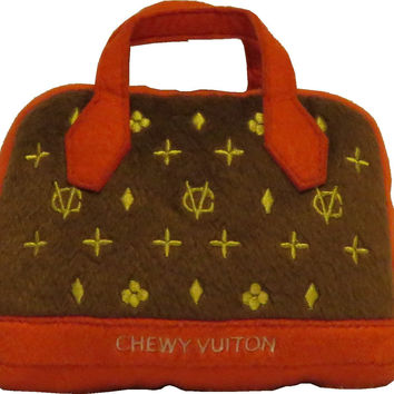 Chewy Vuitton Posh Red Purse Dog Toy