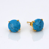 Faceted Round Turquoise Sterling Silver or Vermeil Gold prong set Stud Post Earrings - December Birthstone