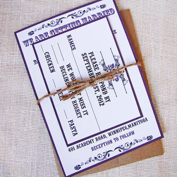 Purple Rustic Wedding Invitation with Twine