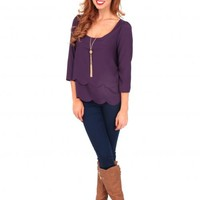 Purple Heart Of A Champion Scalloped Shirt | Monday Dress Boutique