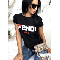 Fendi Tide brand women's printed letters casual round neck loose half-sleeved shirt Black