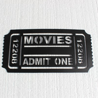 Movie Ticket Sign: Movies Admit One 2FT Home Theater Decor Metal Wall Art