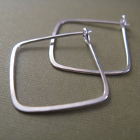 Square Hoop Earrings in Sterling Silver