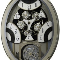 0-000549>Classic Brilliance Musical Wall Clock Silver