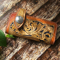 Handmade Custom personalized Carve Vegetable Tanned Leather Genuine leather Purse Wallet Bag -213