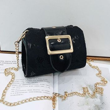 Girls Small Bag Female Summer Personality  Simple Versatile Patent Leather Messenger Bag