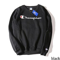 Champion Tide brand embroidery cursive letter couples round neck sweater black