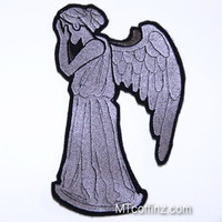 Grey Weeping Angel Iron On Embroidery Patch MTCoffinz - Large