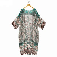 Puseky Floral Printing Boho Beach Chiffon Maxi floral kimono Woman's Fashion Summer 2017 Sexy Tops Long Sleeve Long Kimonos