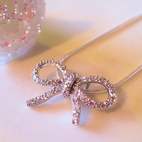 Silver Crystal Bow Pendant Necklace