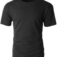 LE3NO Mens Hipster Loose Fit Short Sleeve Crewneck T Shirt (CLEARANCE)