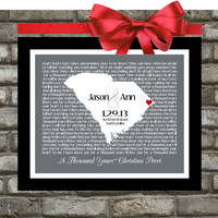 First Dance Song Lyric Personalized Wedding Gift: Any State Country Custom Map Print Office Art Engagement Present 8x10 Gift for Newlyweds