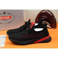 prada men fashion boots fashionable casual leather breathable sneakers running shoes 76