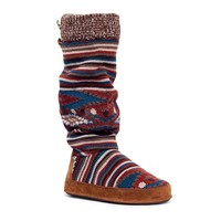 MUK LUKS Angie Vintage Jewels Women's Striped Knit Boot Slippers