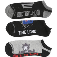 Doctor Who Men's No-Show Socks 3 Pair   Hot Topic