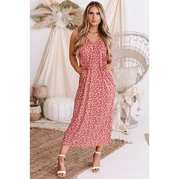 Seraphina Floral Print Maxi Dress (Red)