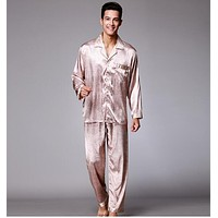 Spring autumn new mens silk pajama set long sleeves pajamas twinset silk sleepwear loungewear