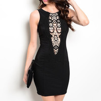 Cut Out Crochet Bodycon Dress in Black