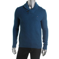 Tommy Hilfiger Mens Waffle Knit Shawl Collar Pullover Sweater