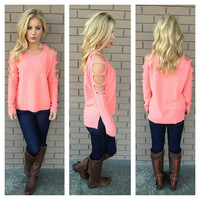 Neon Coral Shred Knit Sweater