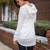 Lace To The Finish Top, Ivory