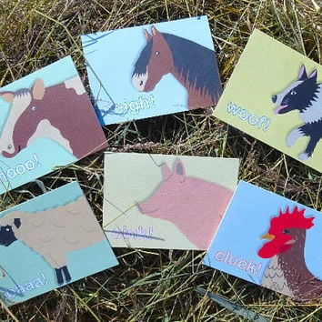 Farm animal cards, set of 6 cute hand-illustrated greeting cards, wonderful christmas gift, pig, sheep, dog, cow, horse and chicken