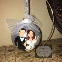 Christmas ornament, glass ornament, custom,  just married, bride, groom, wedding, bridesmaid gifts, wine , champagne glass