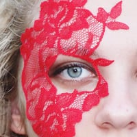 Red Halloween Mask - Strapless Mask - Masquerade Ball Mask - Half Face Eye Mask - Adheres to Skin