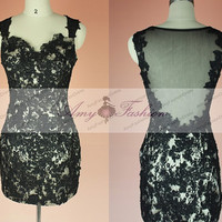 Custom Cap Sleeve Sheer Back Black Lace Backless Prom Dress,Short Sexy Evening Dress,Short Homecoming Dress,Lace Cocktail Dress 2014